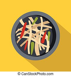 Asian salad icon, flat style - Asian salad icon. Flat...