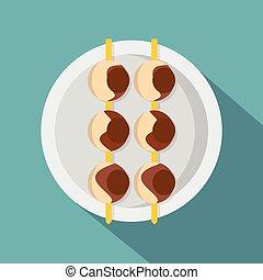Asian shashlik icon, flat style - Asian shashlik icon. Flat...