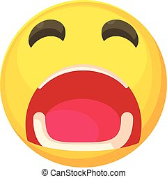 Crying smiley icon, cartoon style