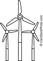 Windmill icon, outline style - Windmill icon. Outline...