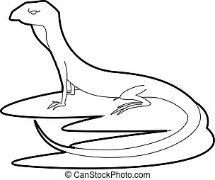 Curious lizardicon, outline style - Curious lizard icon....