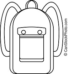 Backpack icon, outline style - Backpack icon. Outline...