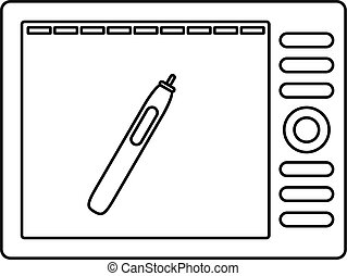 Graphics tablet icon, outline style - Graphics tablet icon....