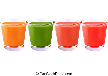 Collection of colored juice isolated on white background -...