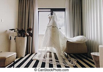 fancy wedding dress. Bridal morning