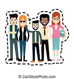 Adultos, imagem, ícone, jovem, pessoas