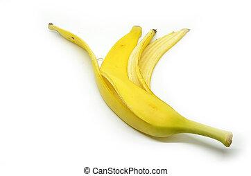 Peeled banana skin isoated on white background