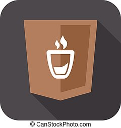 web development shield sign coffee cup symbol isolated icon...
