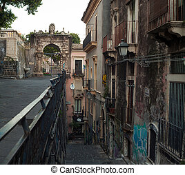 View of the Penninello street, Catania - View of the...