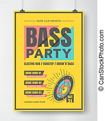 Bass Dance Party Poster - Bass party poster . Electronic...
