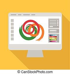 Monitor icon, flat style - Monitor icon. Flat illustration...