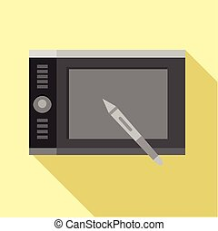 Graphics tablet icon, flat style - Graphics tablet icon....