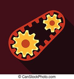 Belt and gear icon, flat style - Belt and gear icon. Flat...