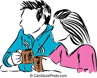 couple man and woman drinking coffee illustration.