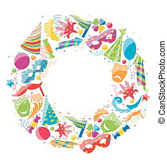 Festive Round Frame for Carnival, Party Circus Colorful Icons