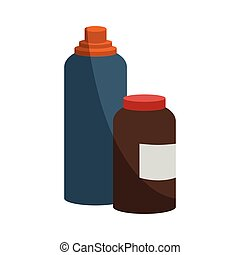 water bottle and protein container icon over white...
