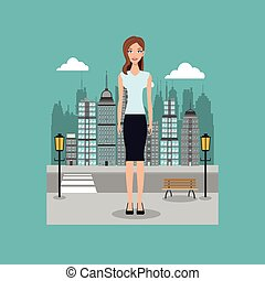 woman standing street city with brench and lamp post vector...