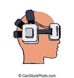 virtual reality design - head with virtual reality headset...