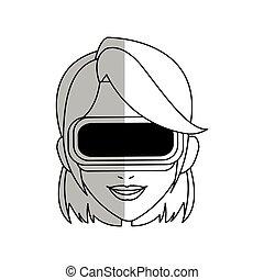 Virtual reality design - Woman with virtual reality headset...
