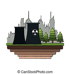 nuclear plant icon over white background. colorful design....