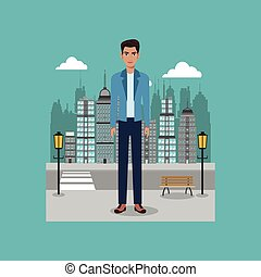 young guy standing street brench and lamp post city vector...