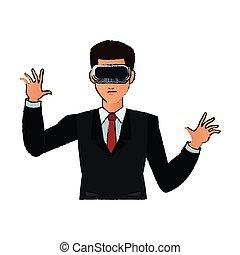 Virtual reality design - man with virtual reality headset...