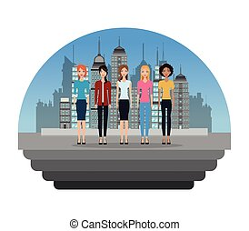 group female standing in the city