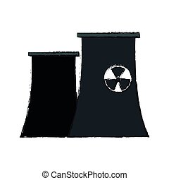 nuclear plant icon over white background. vector...