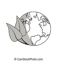 earth planet icon - leaves and earth planet icon over white...