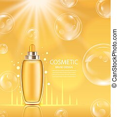Cosmetic Product in Orange Glossy Bottle