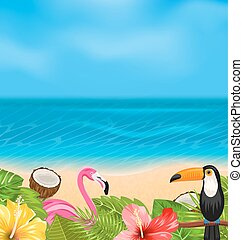 Exotic Background with Toucan, Pink Flamingo