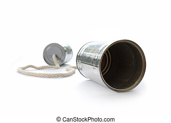 Tin can phone on a white background
