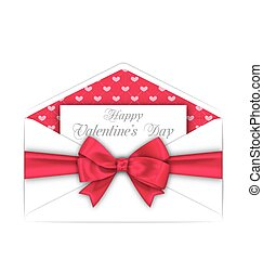 Envelope with Celebration Card and Pink Bow Ribbon for Valentines Day