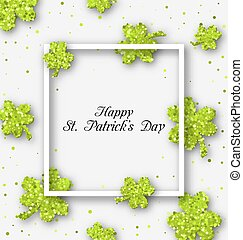 Abstract Banner with Clovers for Happy St. Patricks Day -...