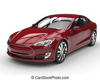 Crimson red modern electric sports car - studio shot