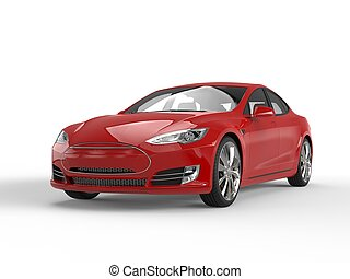 Fiery red modern electric fast car - studio shot