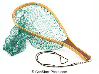 Trout fish net - Beautiful steamed bent wood handled trout...