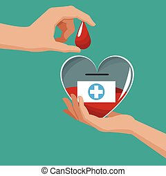 donate blood hand holding heart drop