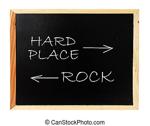 Rock, hard place - Between a rock and hard place concept