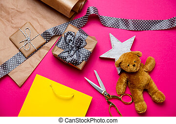 cute gifts, star shaped toy, shopping bag, teddy bear and...