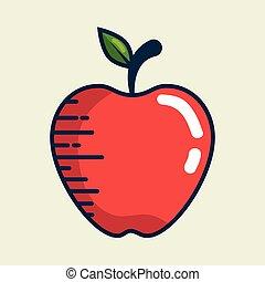 apple fresh fruit handmade drawn vector illustration design