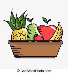 set fresh fruits handmade drawn vector illustration design