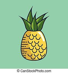 pineapple fresh fruit handmade drawn vector illustration...