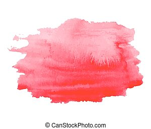 Abstract watercolor bright pink, red hand drawn texture, isolated on white background, vector
