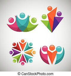 set people silhouette colors icon