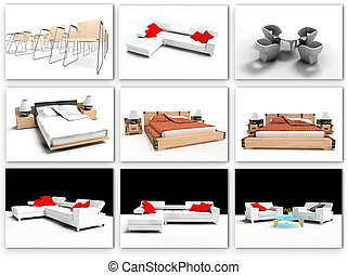 Furniture collection on a white background 3d rendering