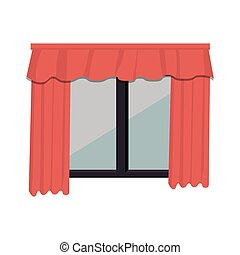 cute windows with courtain vector illustration design