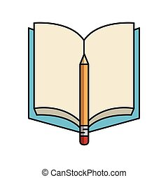 textbook with pencil isolated icon