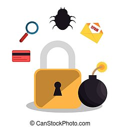 hacking the system concept icons vector illustration design