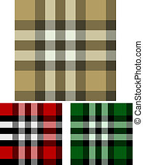 Set of Three Plaid Seamless Backgrounds
